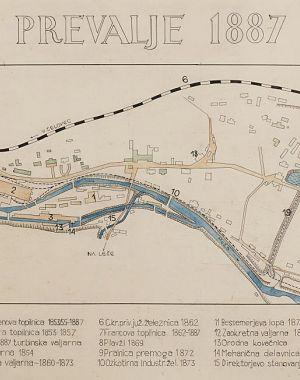 Lokacija obratov železarne na Prevaljah leta 1887